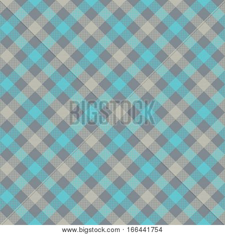 Blue gray check plaid fabric texture seamless pattern. Vector illustration. EPS 10.