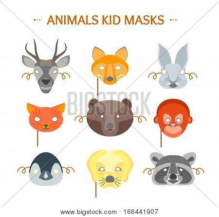 Cartoon Animals Party Mask Set for Kid. Flat Design Style Vector illustration