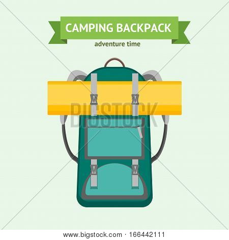 Tourist Camping Backpack and Rolled Matrass Card. Hiking Bag for Adventure Time Flat Design Style Vector illustration