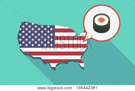 Long Shadow Usa Map With A Piece Of Sushi Maki