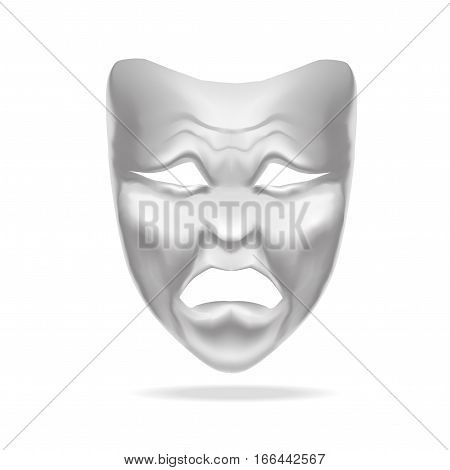 Template Blank White Tragedy Mask Theatre. Realistic Empty Mock Up. Vector illustration