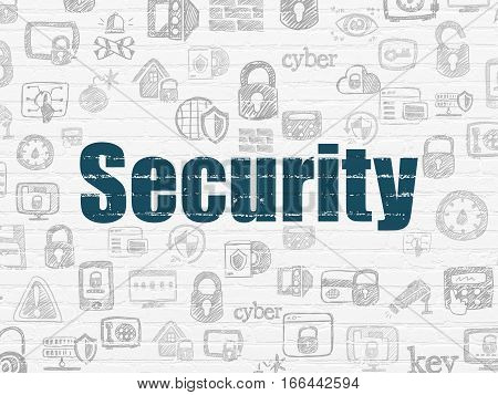 Security concept: Painted blue text Security on White Brick wall background with  Hand Drawn Security Icons