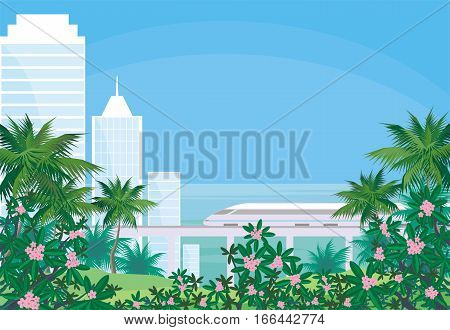 Abstract image of the southern seaside city. A city landscape with high-rise buildings, tropical plants and a view of the sea. Vector background.
