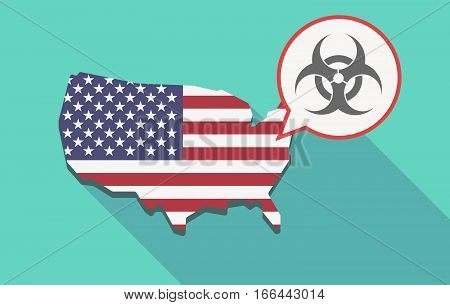 Long Shadow Usa Map With A Biohazard Sign