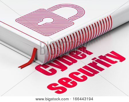 Protection concept: closed book with Red Closed Padlock icon and text Cyber Security on floor, white background, 3D rendering