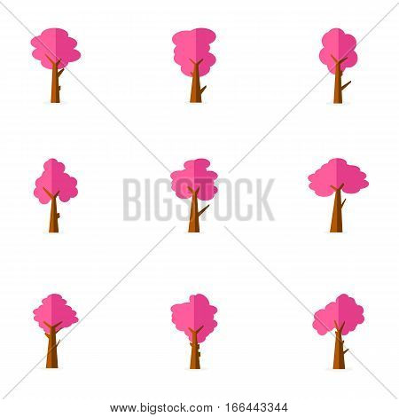 Pink tree set of vector art collection stock