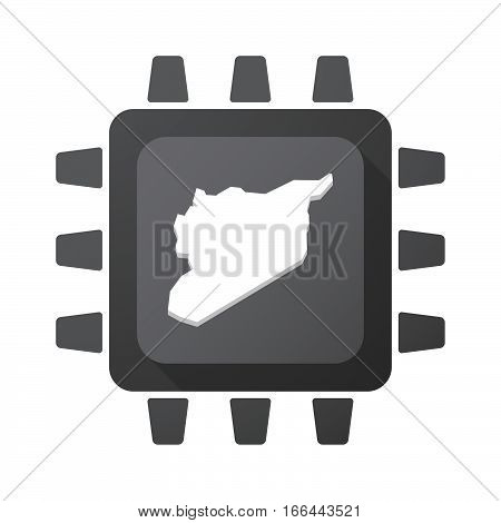 Isolated Chip With  The Map Of Syria