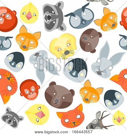 Cartoon Animals Party Mask for Costume Party Background Pattern. Flat Design Style Vector illustration