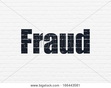 Protection concept: Painted black text Fraud on White Brick wall background