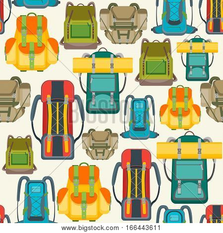 Tourist Camping Backpack Background Pattern. Hiking Bag for Travel. Flat Design Style Vector illustration