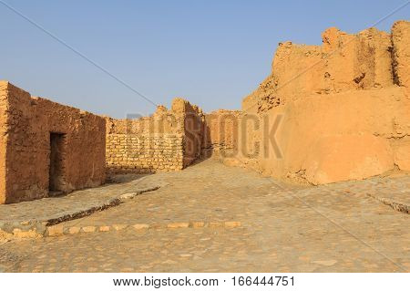 Ruins of abandoned village in Tunisian desert