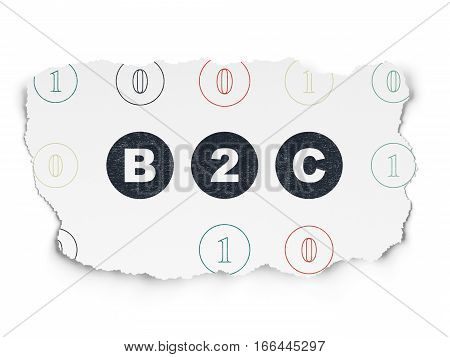 Business concept: Painted black text B2c on Torn Paper background with Scheme Of Binary Code