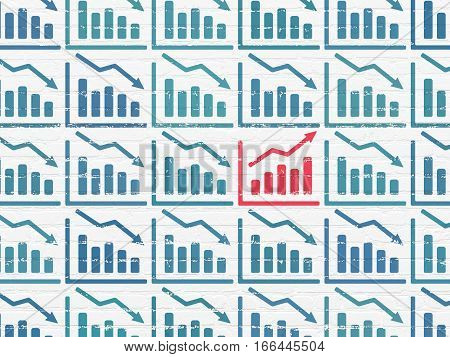 Finance concept: rows of Painted blue decline graph icons around red growth graph icon on White Brick wall background