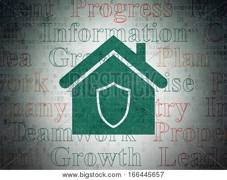 Finance concept: Painted green Home icon on Digital Data Paper background with  Tag Cloud