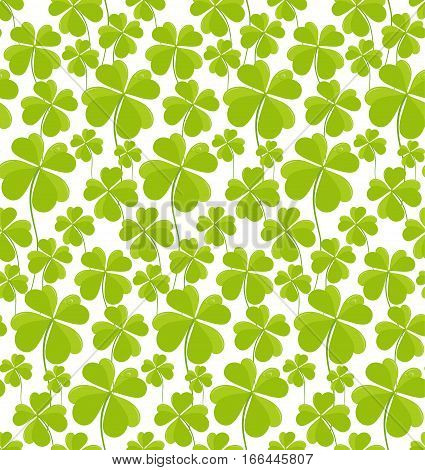 Clovers seamless pattern St Patricks Day. Vector illustration.