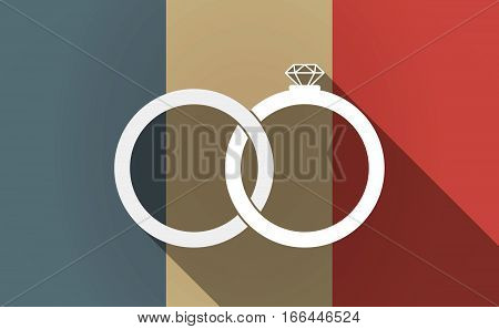 Long Shadow France Flag With  Two Bonded Wedding Rings