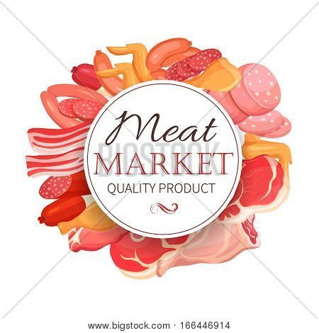 Meat products in cartoon style. Vector icons steak , barbecue, lamb, chops, bacon, chorizo, sausage, chicken wings, chicken legs ham salami and slices sausage