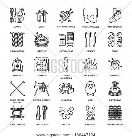 Knitting, crochet, hand made line icons set. Knitting needle, hook, scarf, socks, pattern, wool skeins and other DIY equipment. Linear signs set, logos with editable stroke for yarn or tailor store.