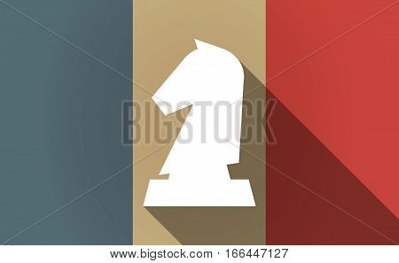 Long Shadow France Flag With A  Knight   Chess Figure