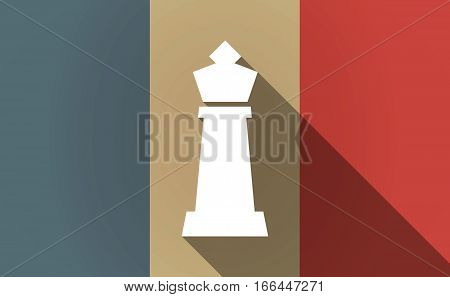 Long Shadow France Flag With A  King   Chess Figure