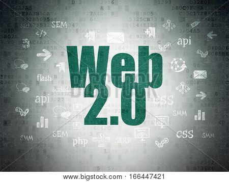 Web design concept: Painted green text Web 2.0 on Digital Data Paper background with  Hand Drawn Site Development Icons