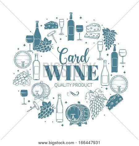 Decorative vintage wine icons. Vintage design for wine shop, wine labels , cards and brochures.