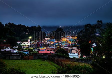 Ooty, India. Aerial view of Nilgiri mountain village Ooty in Tamil Nadu, India. Ooty is a popular resort with beautiful nature