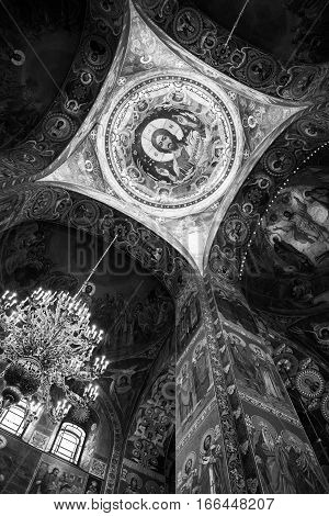 ST. PETERSBURG, RUSSIA - APRIL 12, 2016: Church of the Savior on Spilled Blood interior decoration. It contains over 7500 square meters of mosaics designed by famous russian artists. Black and white