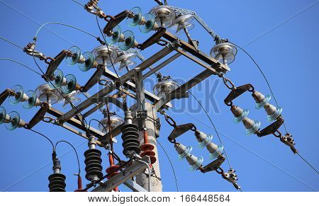 Big Switches Of A Power Line With  Concrete Pole And Electrical