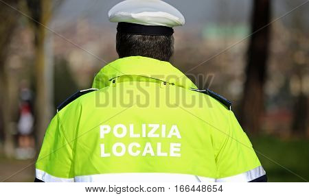 Policeman With High Visibility Uniform And The Words Local Polic