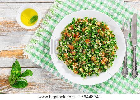 Parsley Salad Or Tabbouleh, Middle Eastern Vegetarian Dish