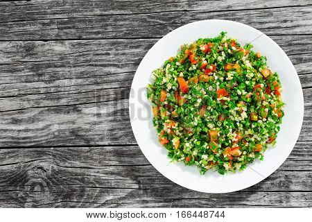 Tabbouleh Salad - Middle Eastern Vegetarian Dish,  View From Above