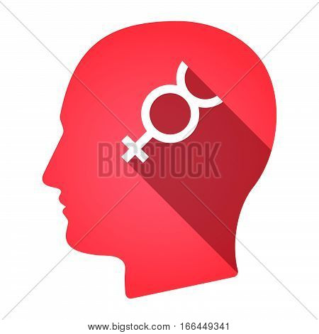 Isolated Male Head With  The Mercury Planet Symbol
