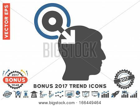 Cobalt And Gray Brain Interface Plug-In pictograph with bonus 2017 trend pictures. Vector illustration style is flat iconic bicolor symbols, white background.