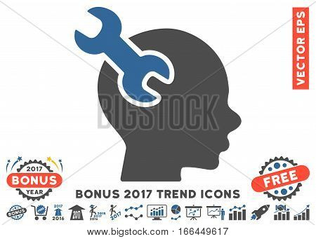 Cobalt And Gray Brain Service Wrench pictogram with bonus 2017 trend elements. Vector illustration style is flat iconic bicolor symbols, white background.