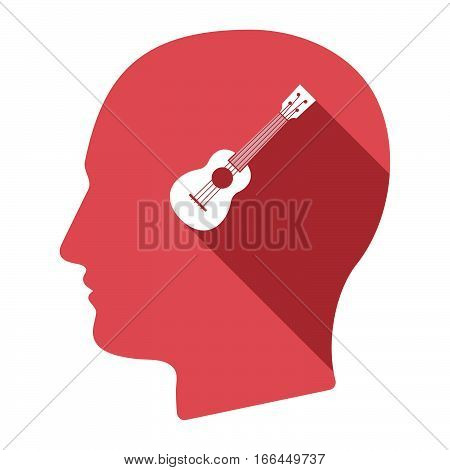 Isolated Male Head With  An Ukulele