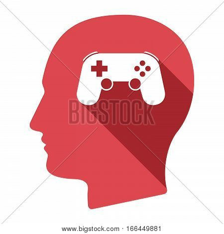 Isolated Male Head With  A Game Pad