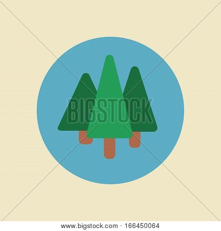Tree logo flat cartoon decorative icons set on blue background with deciduous and coniferous types trees isolated vector illustration