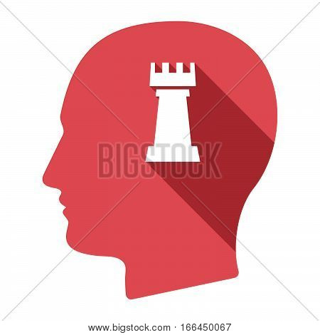 Isolated Male Head With A  Rook   Chess Figure