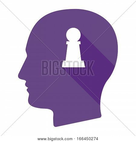 Isolated Male Head With A  Pawn Chess Figure