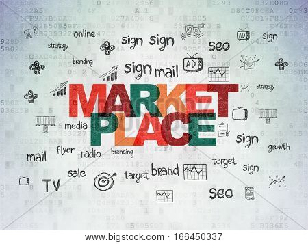 Marketing concept: Painted multicolor text Marketplace on Digital Data Paper background with  Hand Drawn Marketing Icons