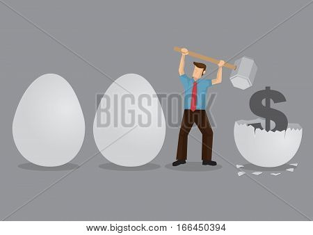 Cartoon man uses a hammer to break eggs to reveal a money symbol inside. Creative vector illustration on metaphor for breaking nest eggs.