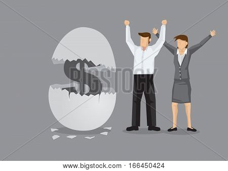Workers overjoyed to see money sign inside a cracked egg shell. Creative cartoon vector illustration for concept on money for nest eggs for employees.