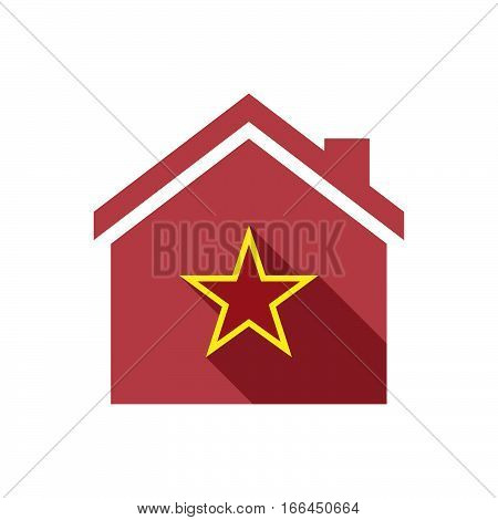 Isolated House With  The Red Star Of Communism Icon