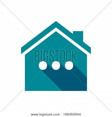 Isolated House With  An Ellipsis Orthographic Sign
