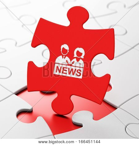 News concept: Anchorman on Red puzzle pieces background, 3D rendering
