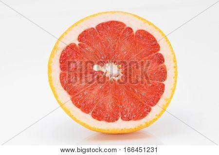 Juicy grapefruit on a white background. Isolate.