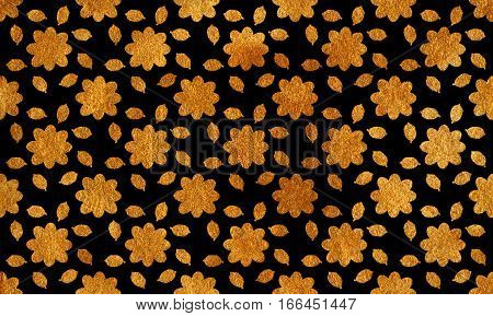 Golden Flowers With Leaves On Black Background.