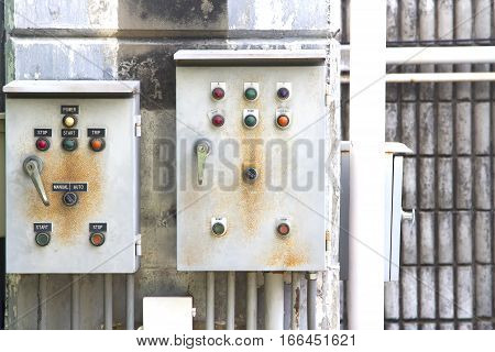 Electric control box and wall concrete and old and electrical power control box