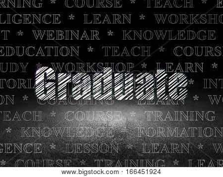 Education concept: Glowing text Graduate in grunge dark room with Dirty Floor, black background with  Tag Cloud